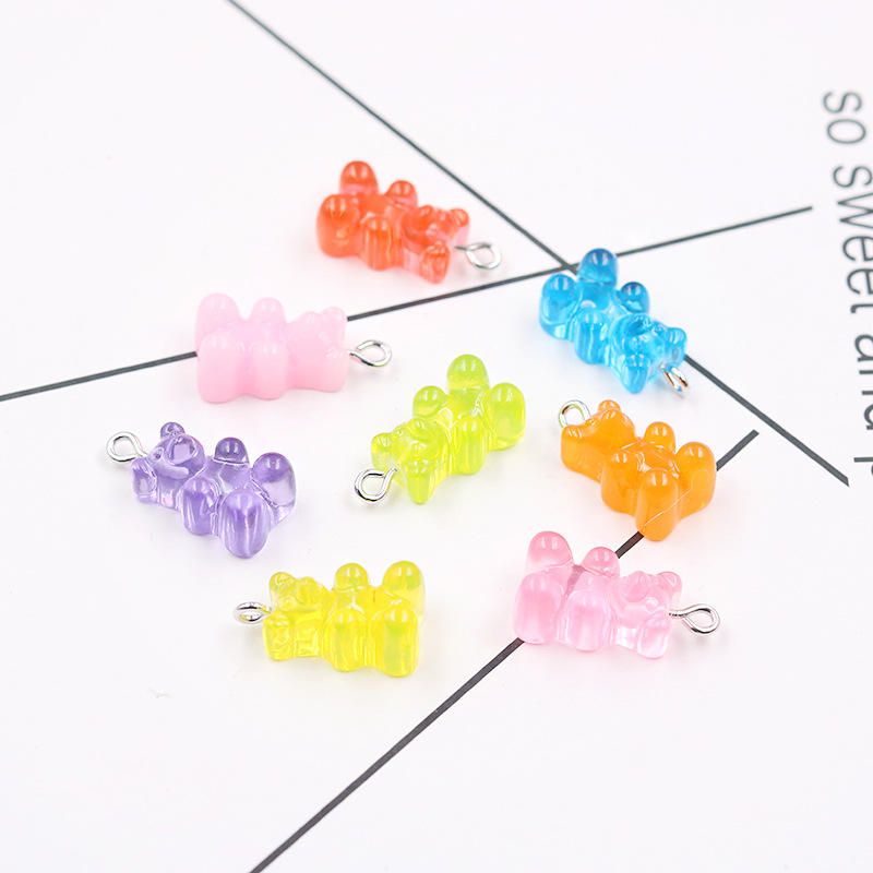 Kawaii Cute Candy Color Gummy Bear Resin Charms for Jewelry Making