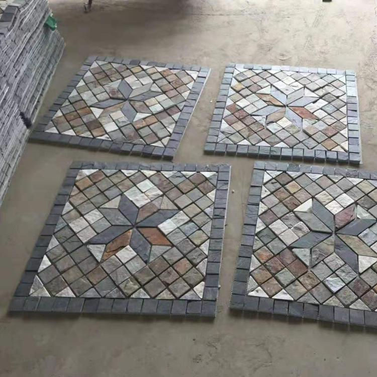 Colorful slate mosaic cube flag landscaping floor stone tiles outdoor prices