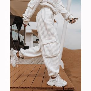 Wholesale OEM custom casual logo comfy cotton harem cargo jogger pants womens multicolor sweatpants women