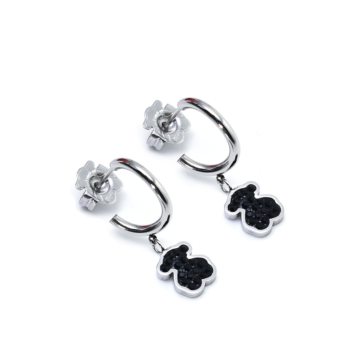Wholesale silver cyrstal bear earrings 316L stainless steel party earrings Zircons Bear Jewelry Lovely