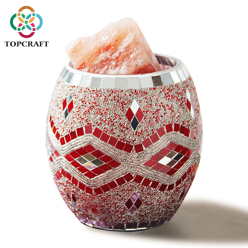 2020 New electric handmade Mosaic red silver Glass natural Himalayan salt lamp accept custom