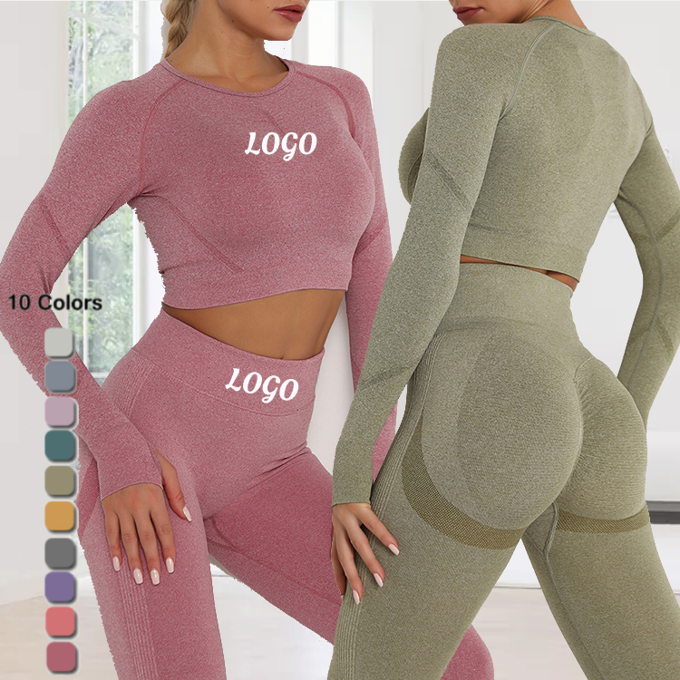 New Seamless Skinny Long Sleeve Yoga Sets Fitness Women Workout Sets Yoga Sets 2020