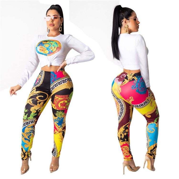 M9608 Wholesale women fashion casual clothes round neck fall clothing 2019 lady printed two piece pant set