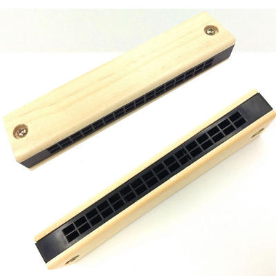 Baby mini musical instrument toy wooden plastic harmonica cheap custom 16 holes harmonica for child