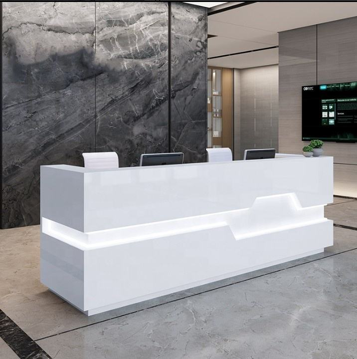 Hot Popular Custom Office Front Counter Furniture Design Unique Solid Surface Reception Desk Counter Top With Partition/