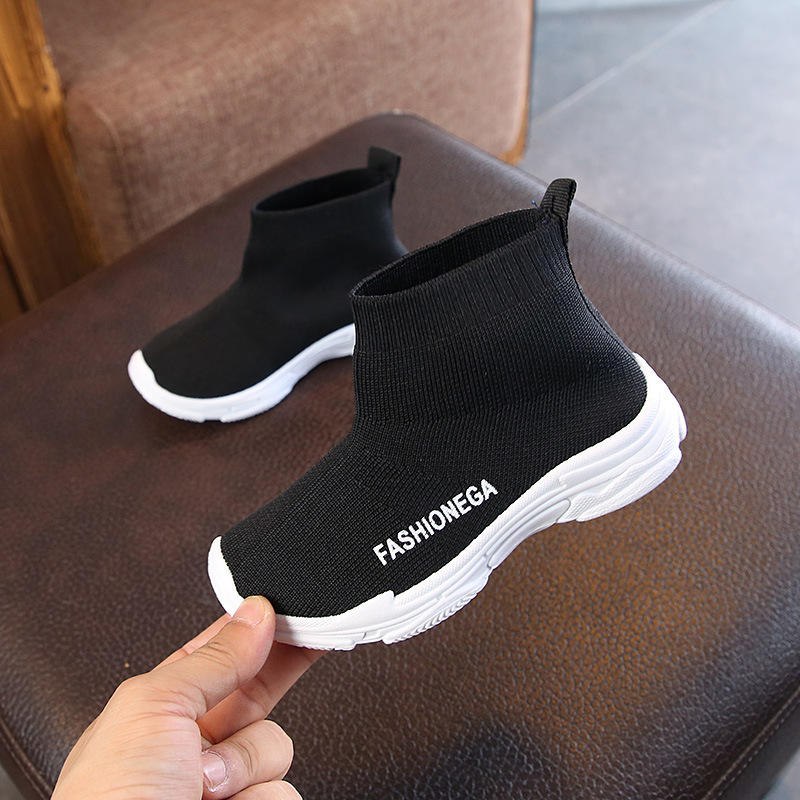 Wholesale custom casual soft sole knitted sock children sneakers toddler newborn prewalker boy girl kids baby shoes