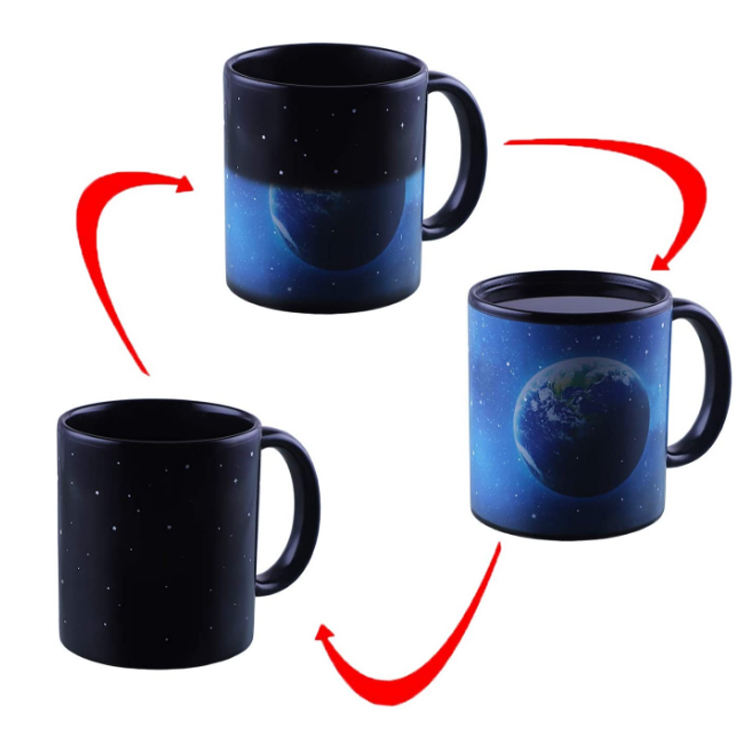11oz Color Changing Coffee Mug Heat Sensitive Changing Magic Mugs Ceramic Changing Color Blue Earth Tea Cup