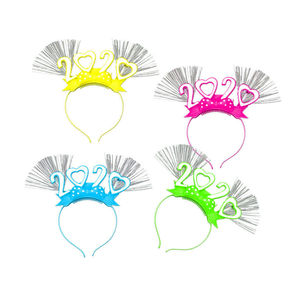 4pcs Hair Hoops Celebration Optic Fiber Glowing 2020 Number Headband for Party AA905