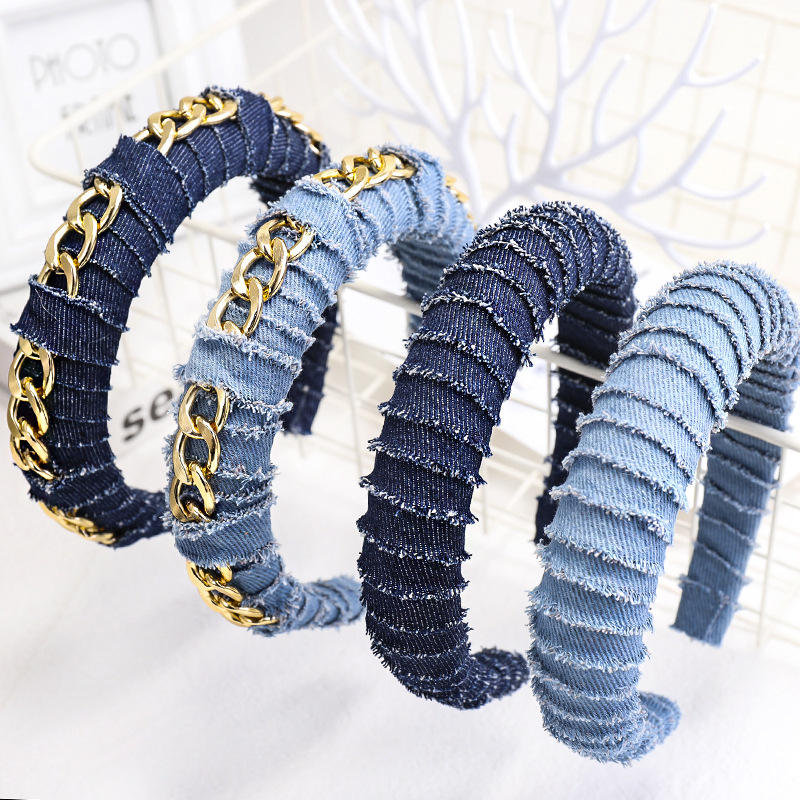 Fashion Women Design Gold Chain Decoration Blue Denim Headband Wide Jean Fabric Hair Bands Thick Sponge Headband for Women