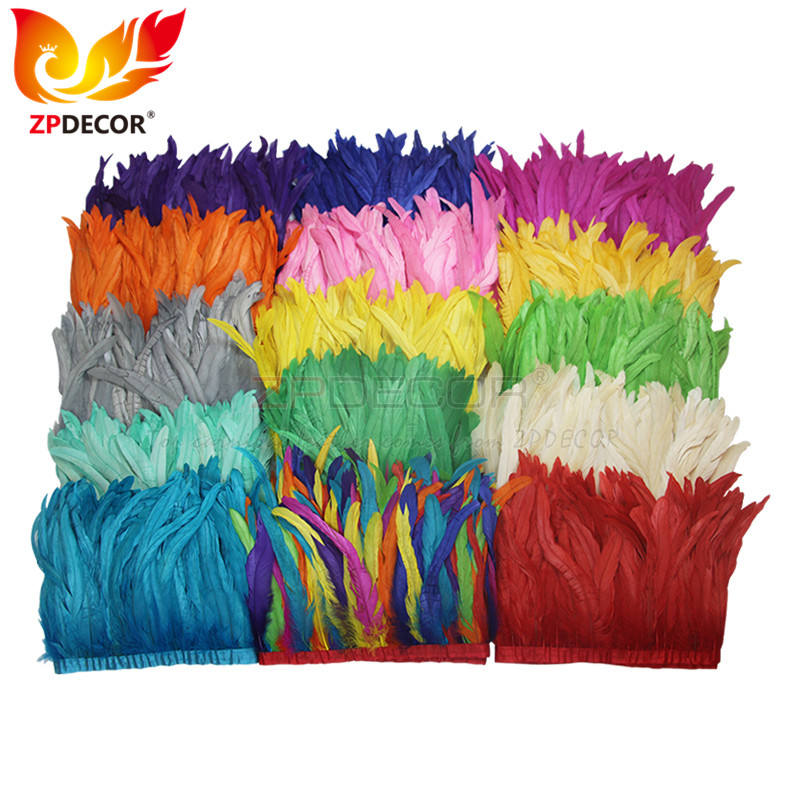 ZPDECOR Wholesale Stock 16 Colors 25-30 cm Bleached Dyed Rooster Tail Feather Trim Fringe for Carnival Costumes