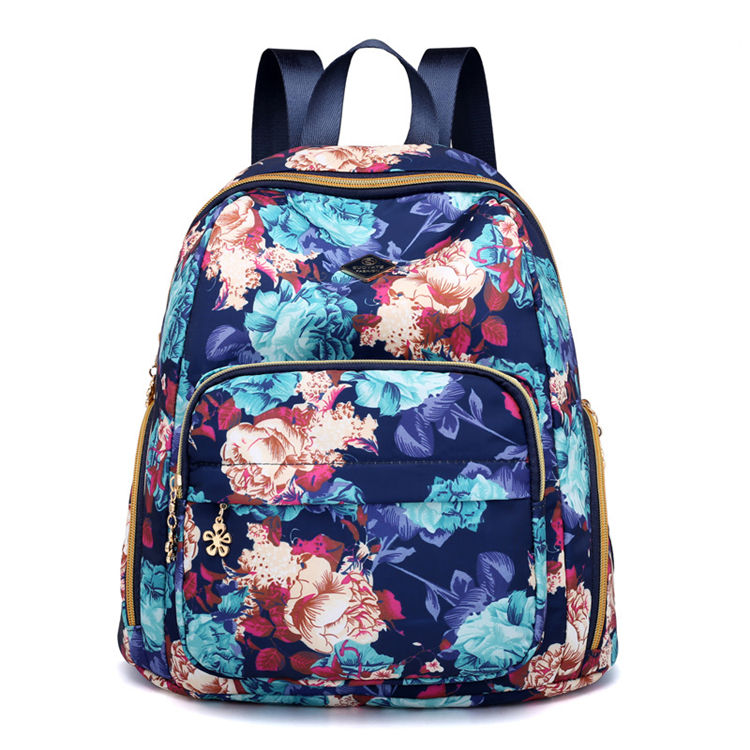 blue new fashion college student girls flower school bag manufacturer in china