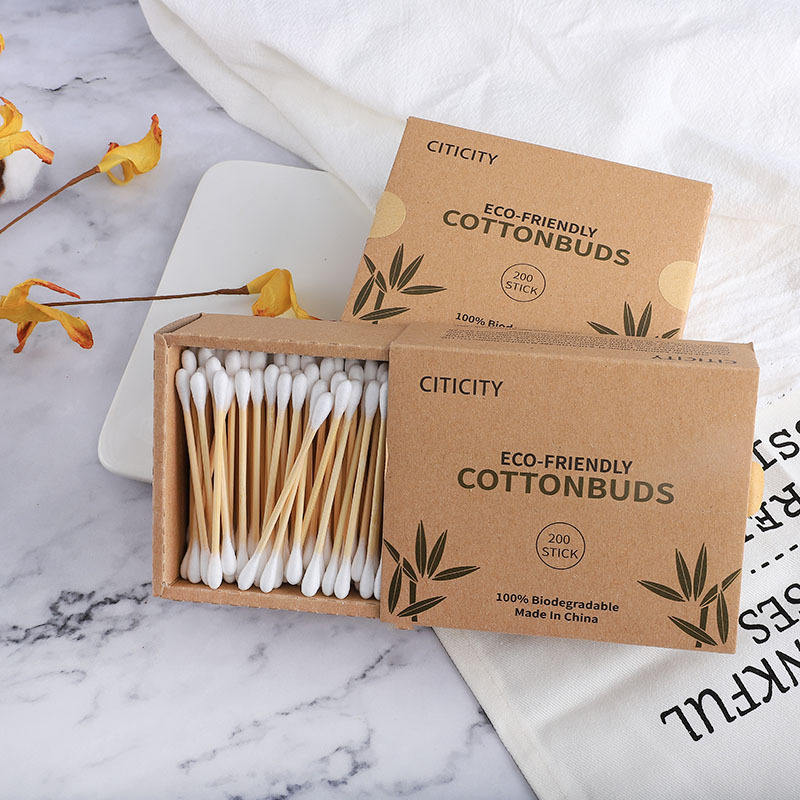 Eco-Friendly Packaging Custom Specifications Cotton Bud plastic free earbuds bamboo cotton bud swab in kraft box