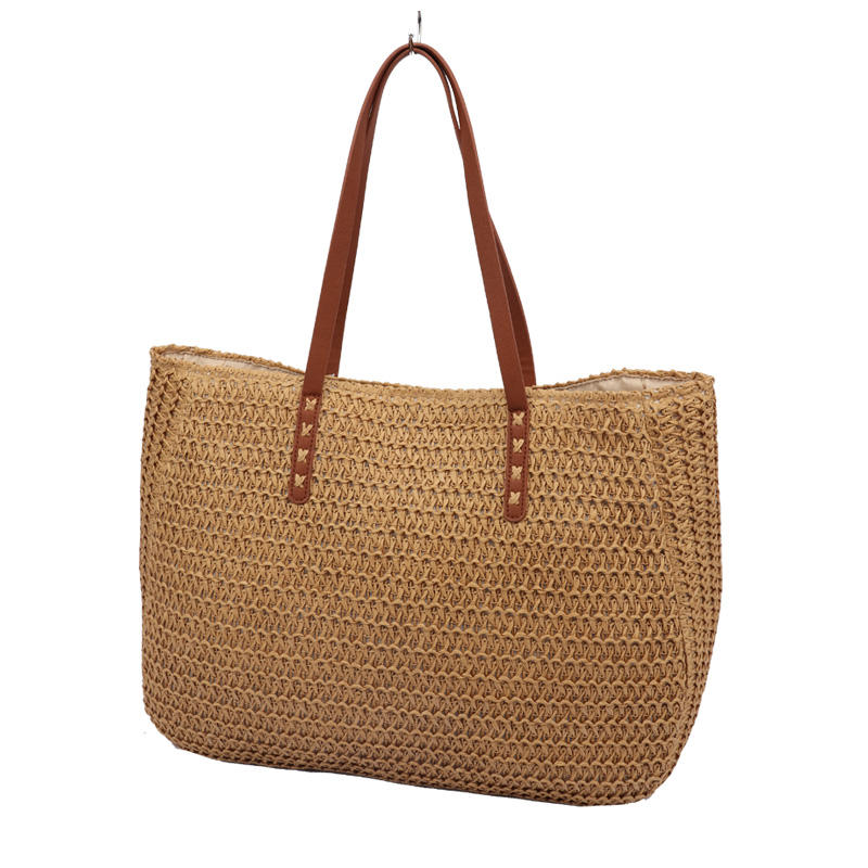 Simple casual and stylish brown paper straw crochet large tote bag women handbag lady's shoulder beach bag sea grass ba