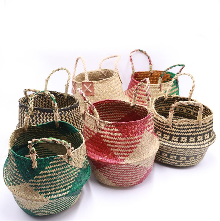 Home antique grass bangladesh round woven seagrass storage belly woven hanging basket
