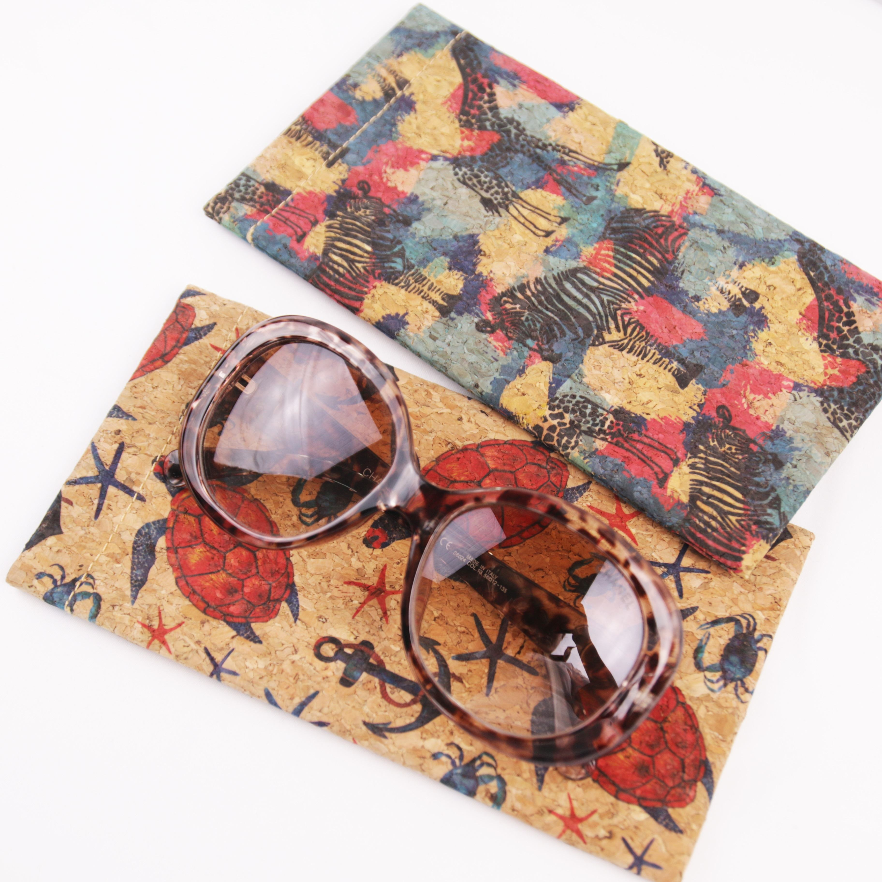 Tropical Print Cork Spectacle Case Wooden Eyewear Box Portugal Cork Sunglasses Cover
