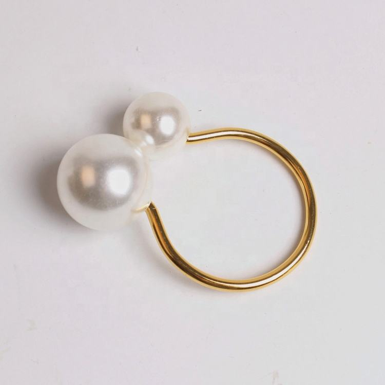 new style hotel table make decorative simple pearl wedding napkin ring
