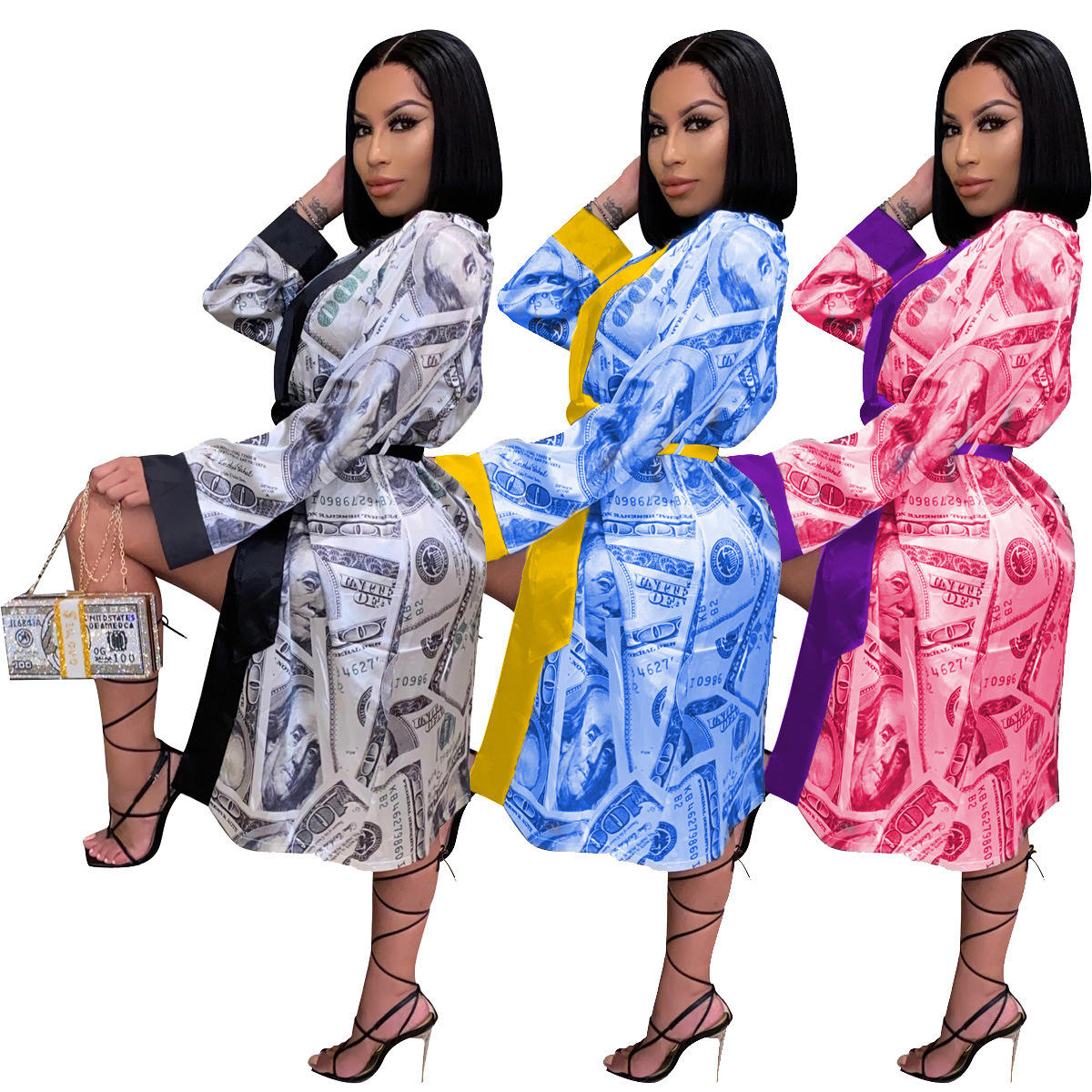 Wholesale Hight Quality Silk Robes Africaine Bandage Pour Femme Feather Luxury Dry Fille Spa Robe