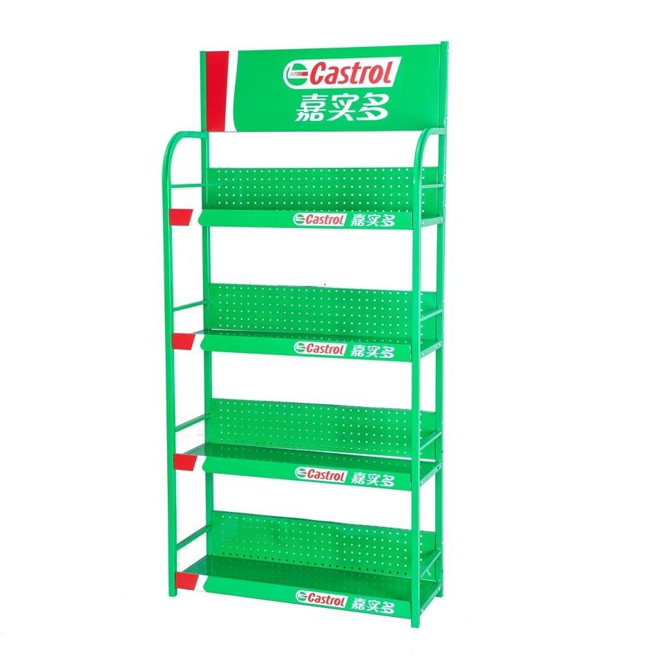 China supplier metal energy storage stand with sign motor oil display rack