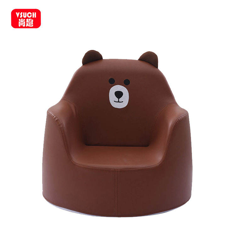 Living Room Furniture Cartoon Embroidery Pattern PU Leather Baby Child Sofa Seat Chair