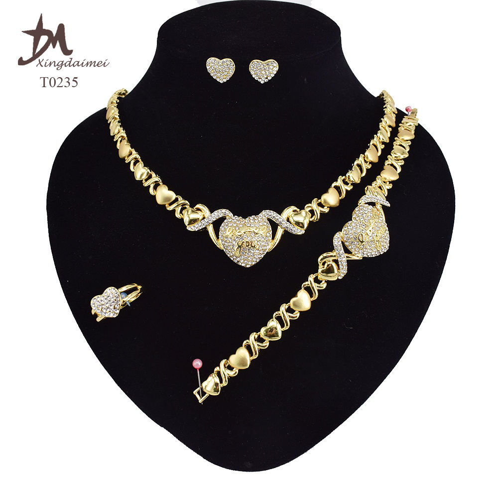 T0235 Wholesale I love your heart shaped diamond 18K gold plated jewelry set