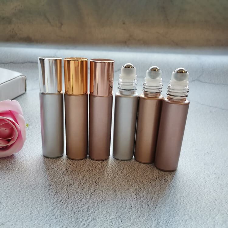 10ml Gold Silver Rose Gold Glitter Glass Roller Bottle with Steel Roller Ball for Essential Oil