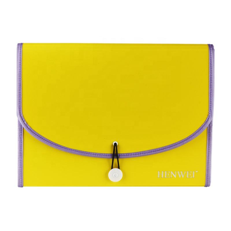 Colorful White Inner Pocket Yellow A4 Expanding Document File Folder