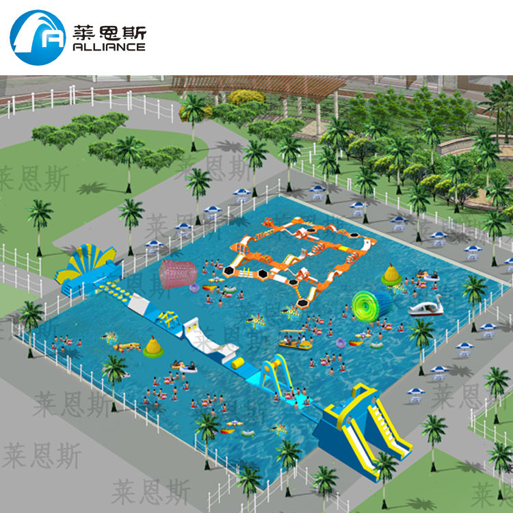 hot sale great fun outdoor aqua games equipment inflatable floating water theme park