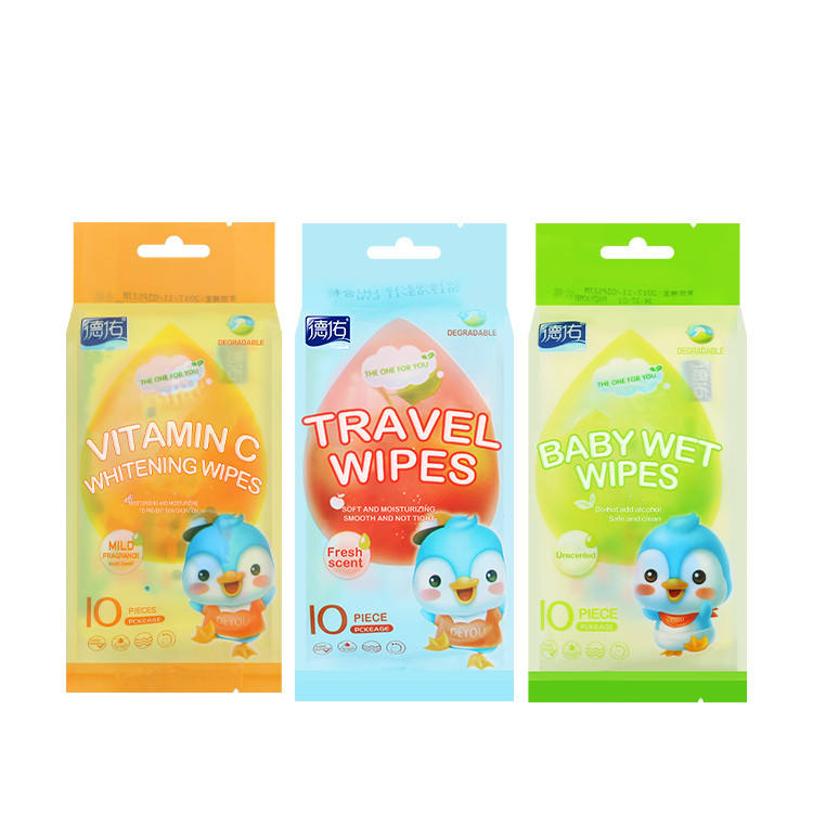 Pocket Deep Fresh Travel Lemon Aloe Vera Wet Towel Individual Packaged Moist Wipe