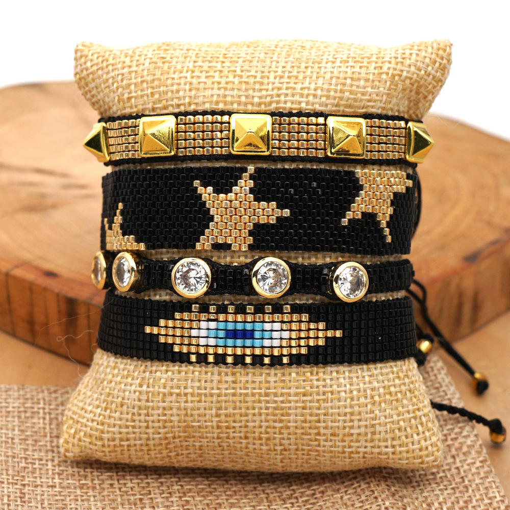 Geometric [ Bracelets ] Bracelets Ins Style 4pcs 1 Set Devil Eye Series With Star Rivets And Diamond Pentagram Miyuki Bead Bracelets