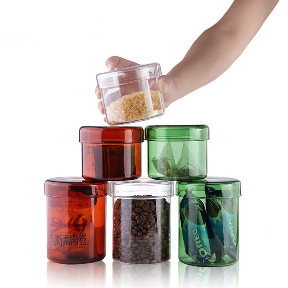 borosilicate glass handmade colorful amber green blue glass jar with glass lid