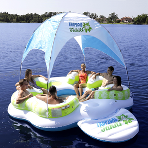 6 person inflatable island raft pool beach bay wind floating island party lounge floating island