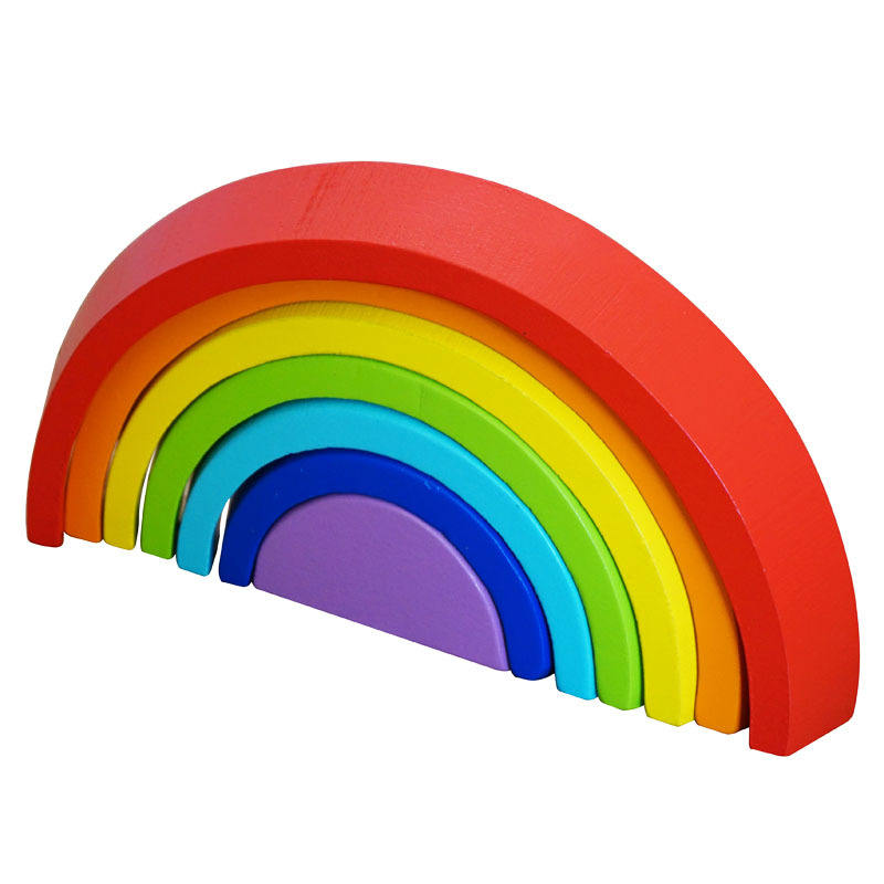 Wooden rainbow building blocks toddlers building blocks