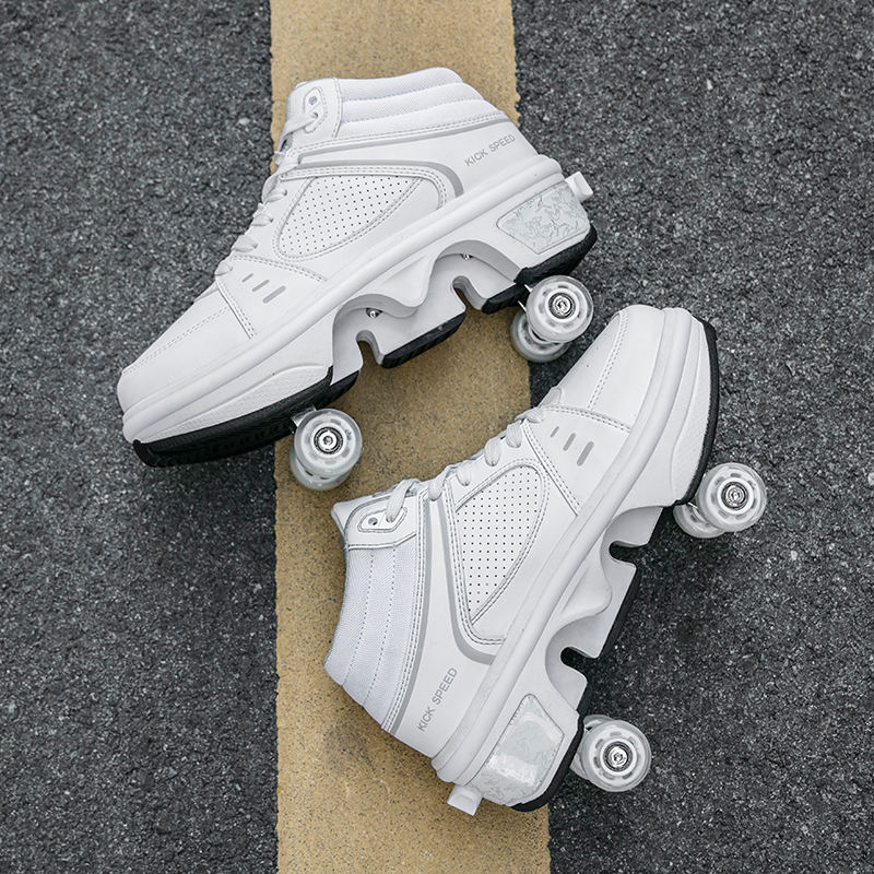 4 four wheels quad kick out wheel roller shoes skate , kids children deformation kick roller skate shoes with four wheels