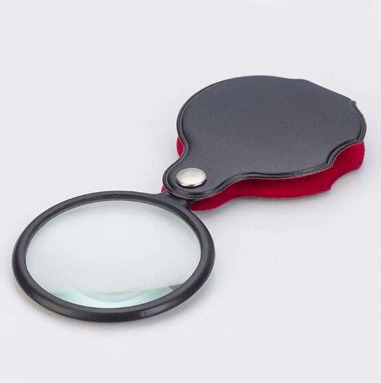 2001 high quality a magnifying glass folding 60mm pu leather case magnifying glasses for reading with low magnifying glass price