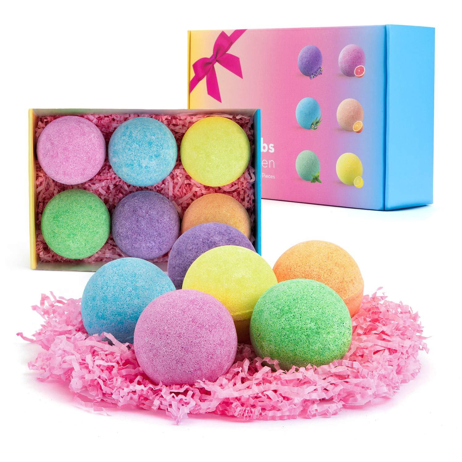 2021 New Arrival Private label Bath Bombs Packaging Natural Organic Herbal Bubble Bath Gift Set Scented Rainbow Bath Bombs
