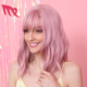 Short Curly body wave Women Girls Charming Synthetic Wig Bangs pink lolita hair wig