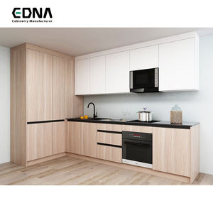 Edna Australia L Shaped Wood Grain Melamine Flat Pack Kitchen Cabinets