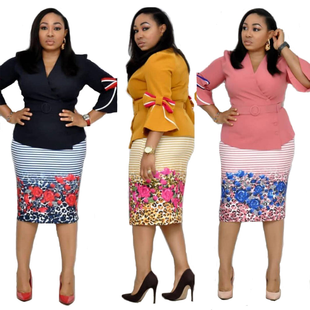 Foma Wholesale africa clothing CFA393 two-piece set skirt flare sleeves plus size dresses women lady elegant office dress