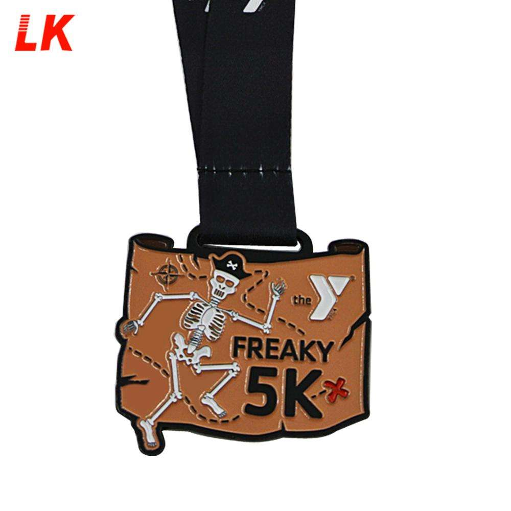 Custom zinc alloy sports 5k logo enamel medal with neck ribbon