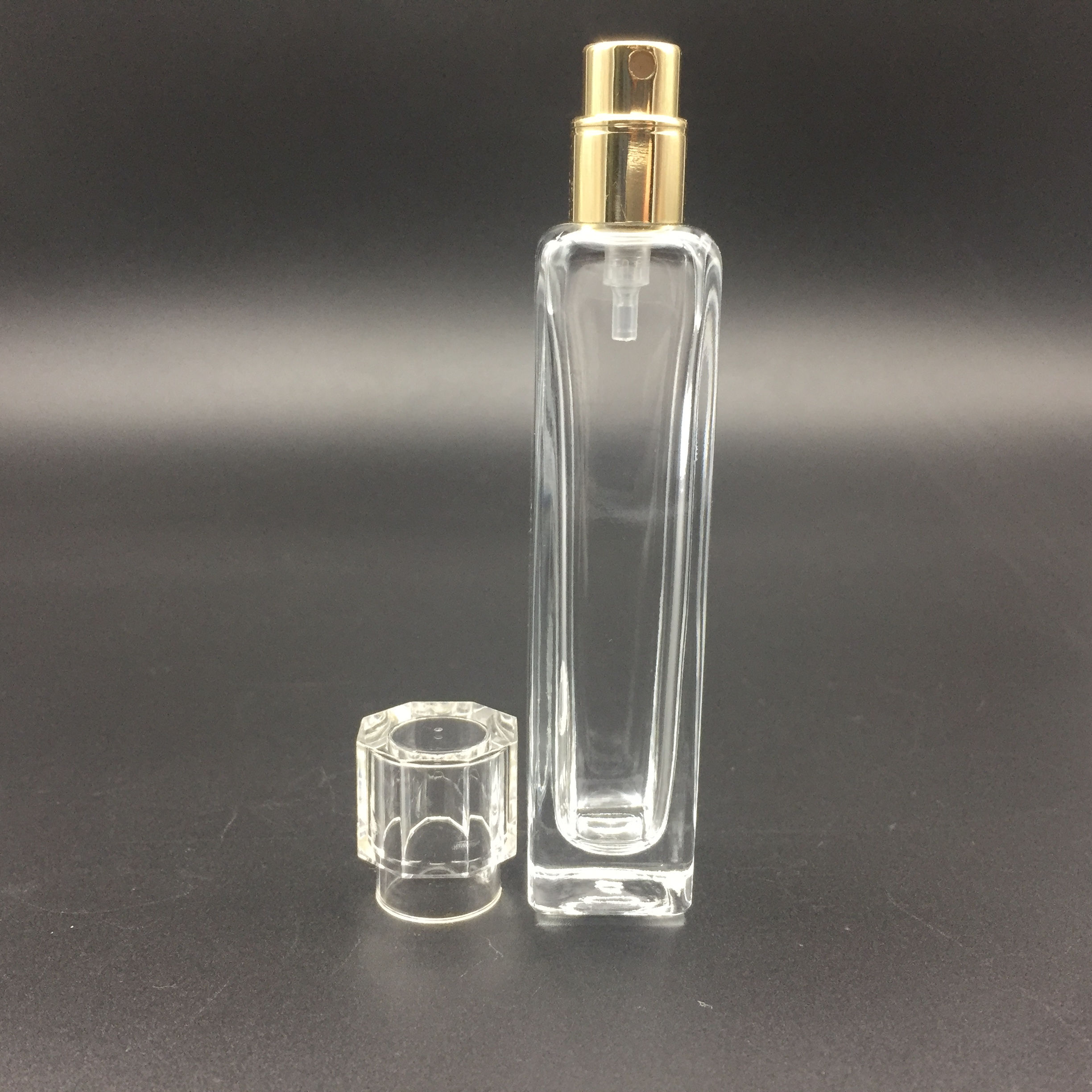 square 5ml 10ml 15ml clear glass perfume vials with plastic cap