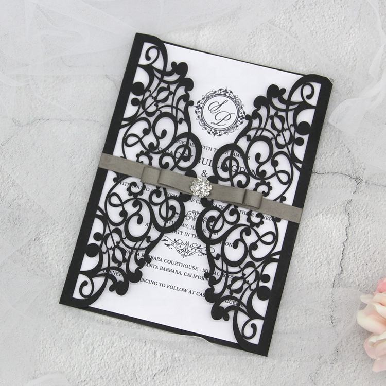 Lace Engagement Invites Cards for Party Decoration Elegant Laser Cut Wedding Invitations