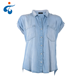 China factory High quality summer short sleeve denim lady fashion cutting blouse