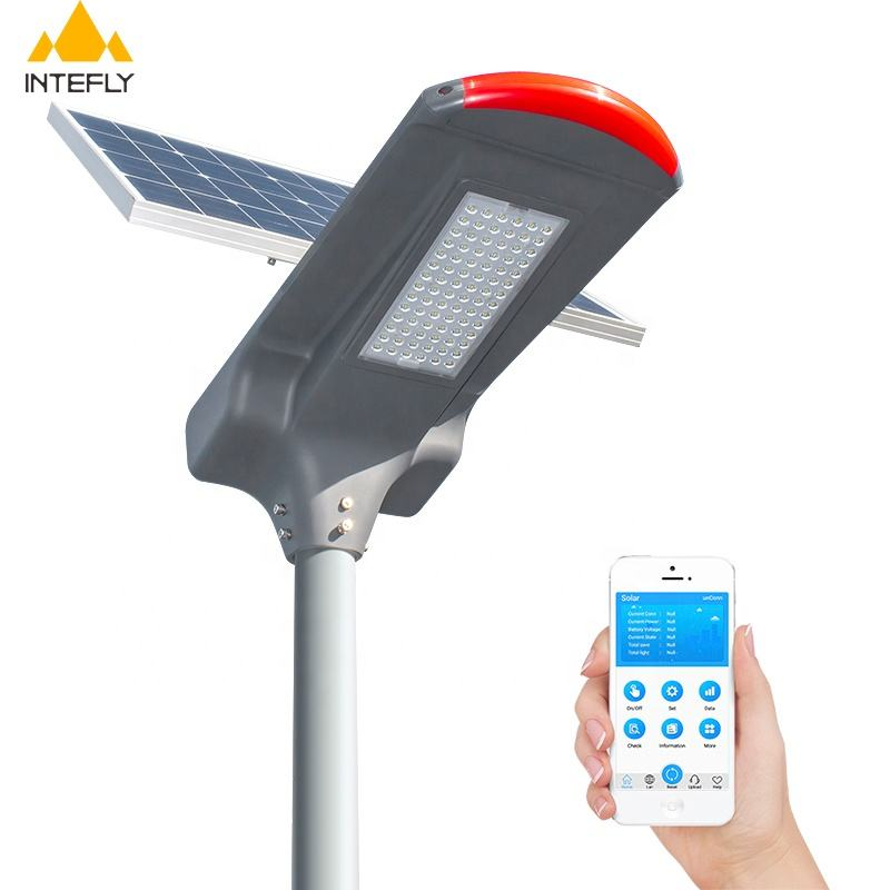 Intefly Hot Sale 50W 60W 70W 80W Tinggi Bright Solar LED Street Light Outdoor Tahan Air IP66 smart City Tenaga Surya Lampu Jalan