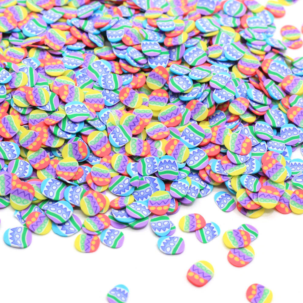 Colorful Easter Egg <span class=keywords><strong>Polymer</strong></span> Clay Slices 500 gr/beutel Happy Easter Egg Clay Sprinkles Slime Charms