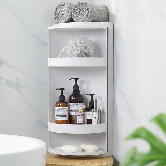 Bathroom rotating triangle rack suction wall plastic storage finishing rack kitchen bathroom dust storage cabinet corner rack