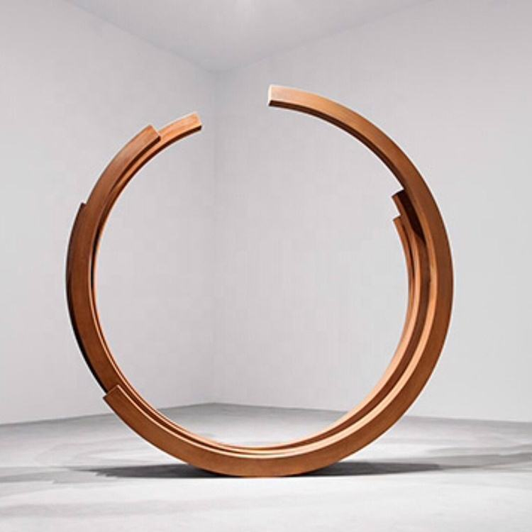 Custom size Bernar Venet metal tube Indeterminate Lines and Arcs natural rusty corten steel sculpture