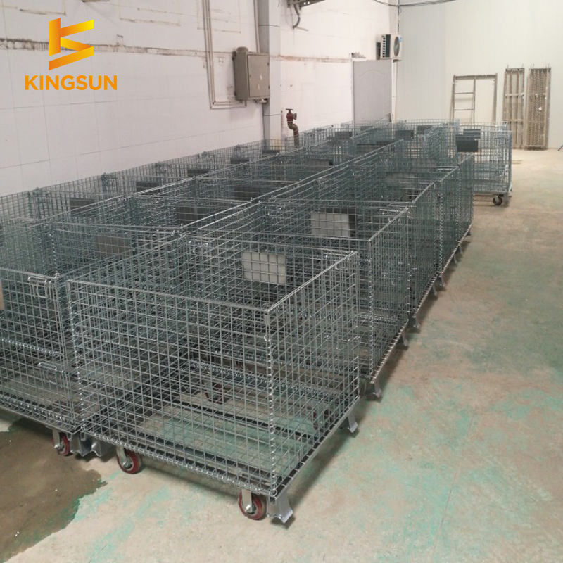 Collapsible steel folding wire storage metal heavy duty Australia cage pallet with forklift
