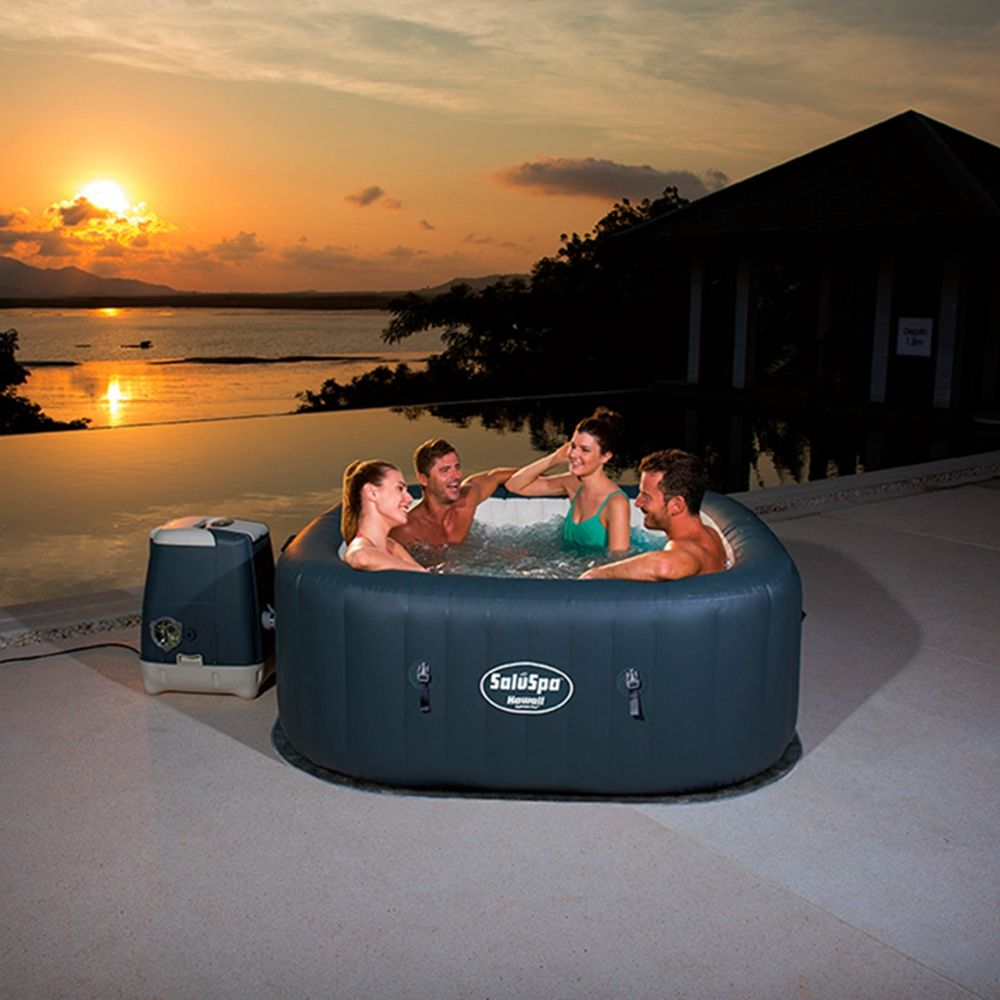 Square Lay-Z-Spa Hawaii Hydro Jet Pro Inflatable Hot Tub for 4-6 person bubble mat