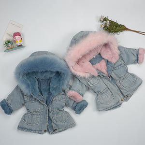 Toddler Girl Denim Jacket Hooded Faux Fur Thick Jean Jacket Fashion Winter Warm