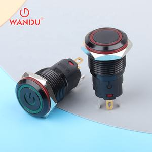 16mm Black aluminum anodized metal push button switch